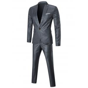 Slim Fit Three-piece Business Suit - SILVER 2XL
