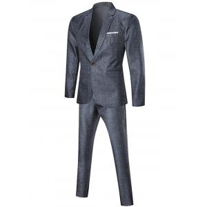 One Button Argyle Three-piece Business Suit - PEARL DARK GREY XL