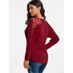 Batwing Sleeve Lace Insert Top - RED 2XL