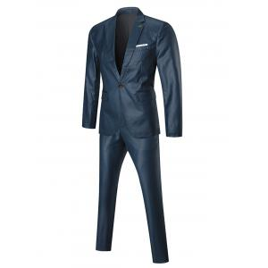 Lapel One Button Three-piece Business Suit - BLUE 3XL
