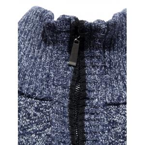 Zip Up Knitted Cardigan Sweater - LIGHT GRAY 3XL