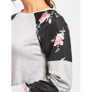 Floral Panel Raglan Sleeve Sweatshirt - GRAY S