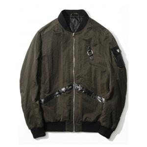 Zip Up PU Panel Bomber Jacket - ARMY GREEN 2XL