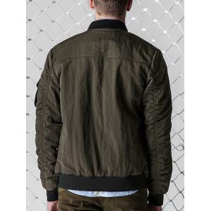 Zip Up PU Panel Bomber Jacket - ARMY GREEN M