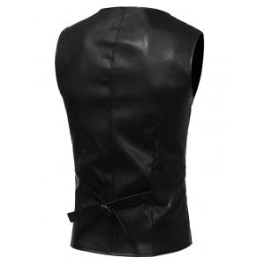 Edging Belt Design PU Leather Waistcoat - BLACK L