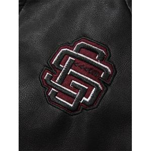 Embroidered Fleece Pleat PU Leather Jacket - COFFEE L