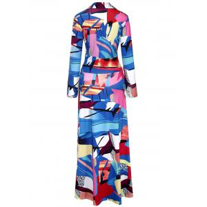 Floor Length Geometric Print Surplice Dress -