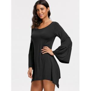 Bell Sleeve Asymmetrical Mini Dress -