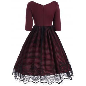 A Line V Neck Lace Panel Dress - WINE RED S
