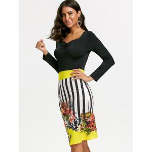 Stripe Floral Bodycon Dress - YELLOW XL