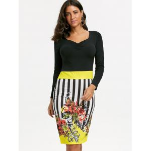 Stripe Floral Bodycon Dress - Jaune L