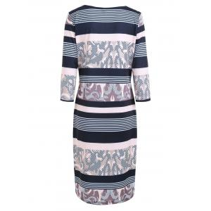 Plus Size Stripe Printed Bodycon Dress with Sleeves - APRICOT 4XL