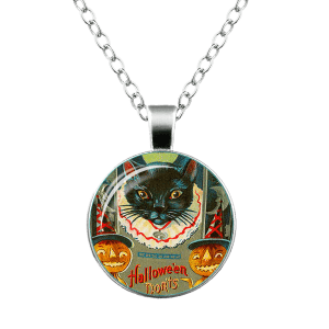 Halloween Pumpkin Devil Moon Cat Necklace -