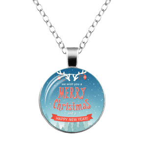 Merry Christmas Happy New Year Deer Necklace - SILVER