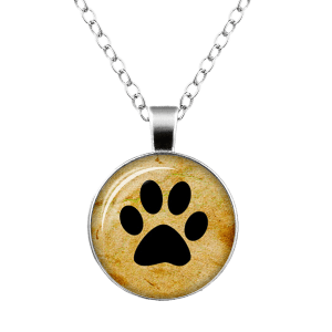 Dog Paw Pattern Charm Round Necklace - SILVER