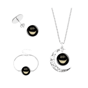 Alice's Evil Smile Moon Necklace Bracelet Earring Set -