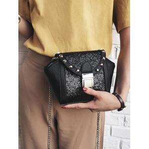Metal Rivet Sequin Crossbody Bag - BLACK