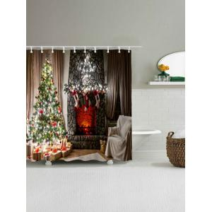 Christmas Fireplace Tree Waterproof Shower Curtain - COLORMIX W59 INCH * L71 INCH