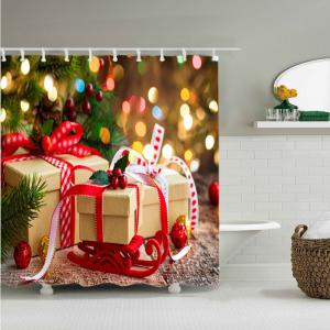 Christmas Presents Print Fabric Waterproof Bathroom Shower Curtain - COLORMIX W59 INCH * L71 INCH