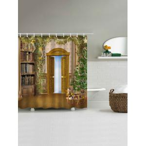 Christmas Tree Door Waterproof Bath Curtain - BROWN W59 INCH * L71 INCH