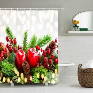 Christmas Tree Cherry Print Fabric Waterproof Bathroom Shower Curtain - RED W59 INCH * L71 INCH