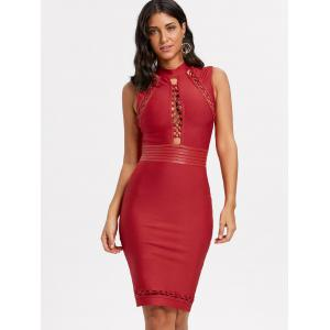 Cut Out Lattice Bodycon Bandage Dress - RED S