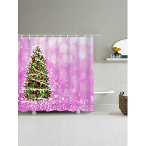 Waterproof Fabric Christmas Tree Bath Curtain - PINK W59 INCH * L71 INCH