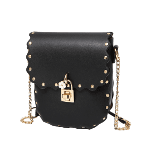 Rivet Chain Scallop Crossbody Bag -