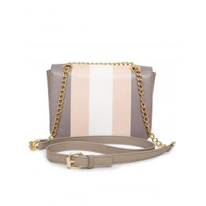 Faux Leather Chain Color Block Crossbody Bag -