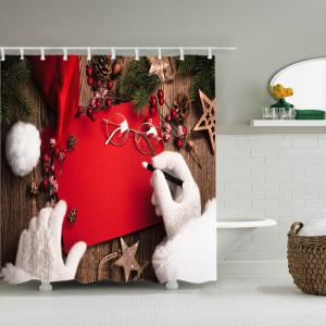 Christmas Decorations Print Fabric Waterproof Bathroom Shower Curtain - RED W59 INCH * L71 INCH