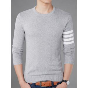 Crew Neck Striped Pullover Jumper - GRAY 3XL