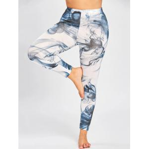 Skinny Plus Size Ink Painting Leggings - Noir Bleu 3XL