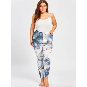 Skinny Plus Size Ink Painting Leggings - Noir Bleu 5XL