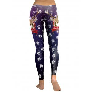 Snowflake Elk Merry Christmas Leggings - PURPLE M