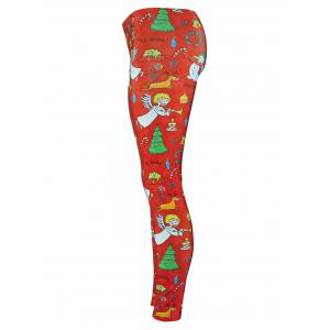 Snowman Angel Christmas Tree Party Leggings - RED S
