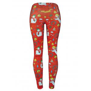 Snowman Angel Christmas Tree Party Leggings - RED XL