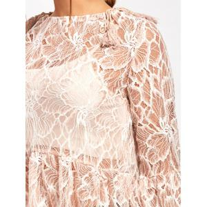 Flare Sleeve See Thru Lace Blouse - NUDE S