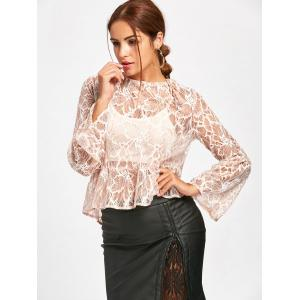 Flare Sleeve See Thru Lace Blouse - NUDE L