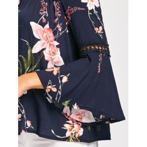 Floral Print Lace Insert Bell Sleeve Blouse - BLUE S