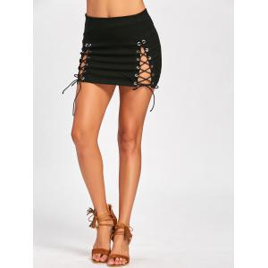 High Waist Lace Up Mini Skirt - BLACK L
