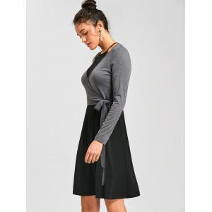 Crochet Panel Fit and Flare Dress - BLACK AND GREY M