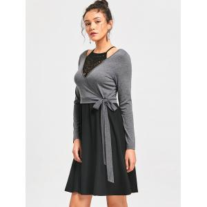 Crochet Panel Fit and Flare Dress - BLACK AND GREY L