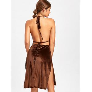 Velvet Slit Backless Halter Dress - BROWN L