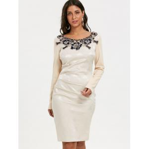 Ruched Long Sleeve Jacquard Bodycon Dress -