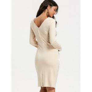 Ruched Long Sleeve Jacquard Bodycon Dress - APRICOT XL