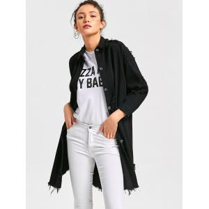 Lucky Frayed Curved Longline Shirt Coat -
