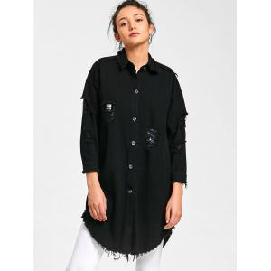 Lucky Frayed Curved Longline Shirt Coat - BLACK 2XL