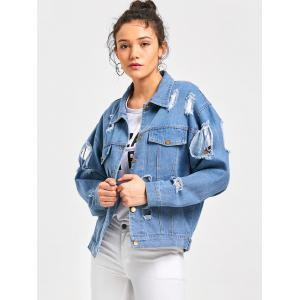 Button Up Denim Destroyed Jacket - LIGHT BLUE M