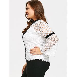 Plus Size Hollow Out Crochet Top with Cami - WHITE XL