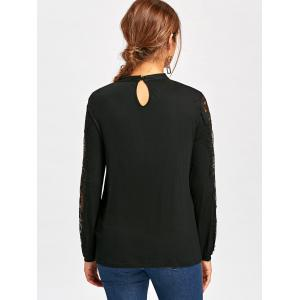 Lace Panel Frill Long Sleeve Top - BLACK L